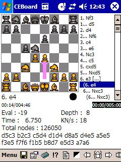 Pocket Chess HIARCS for CEBoard on Pocket PC